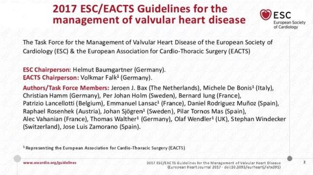 Linee Guida ESC per il trattamento delle valvulopatie..